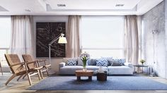 Stunning and Beautiful Modern Apartment Design Lovely Living Room Blue Furniture…