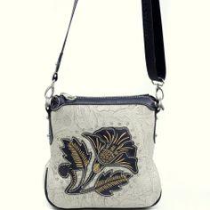 Montana West® Salmonberry Flower Messenger Bag. #blackwhite #bag #fashionbag #shoulderbag #handbag #accessories #white #black #flower #floral