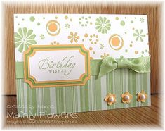 """Card/Paper: Whisper White, Certainly Celery Designer Paper, Apricot Appeal & Certainly Celery card  Ink: Certainly Celery & Apricot Appeal  Stamps: Petals Jumbo Wheel, Sincere Salutations  Other: 5/8"""" Certainly Celery Gross Grain Ribbon, Three For You punch, 1/2"""" circle punch, Pretties Kit Pearls"""