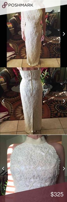 St. Tropez evening/prom/wedding gown Beautiful st. Tropez evening dress. Can be worn as a prom, evening or even a wedding dress. Gorgeous condition, only worn once, no damage or sign of wear at all, gorgeous strap details, size 8 St. Tropez Dresses Wedding