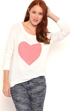 Deb Shops Long Sleeve Ballet Neck Top with Heart Screen and Banded Bottom