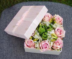 Flower Box Gift For Her Keepsake Box Flower by AlookFlowers