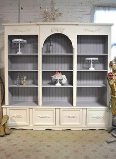 Painted Cottage Shabby White Farmhouse China Cabinet/ Bookcase Extra Large