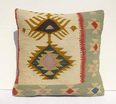 Kilim pillow Decorative Pillow Ethnic Woolen by PillowTalkOnEtsy, $48.00