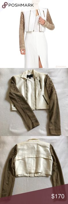 [BCBG] Nash Cropped Jacket - White & Tan BCBGMAXAZRIA Nash Cropped Jacket - Khaki & White  - Embroidered & Mini Studs on Sleeves  - Double Front Zipper; Pointed Collar  - Cropped; Semi-Fitted  - 3 Front Zipped Pockets - Size: S - Condition: NWT  ✨ Host Pick: 12/2 - Best in Gifts Party ✨ BCBGMaxAzria Jackets & Coats