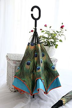 Upside down reverse double layer umbrella opposite folding umbrella (Peacock) ** Check out the image by visiting the link.
