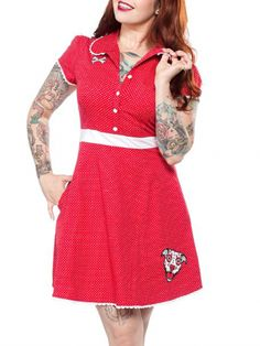 Women's Dresses - Punk, Indie & Tattoo Dresses | Inked Shop #inkedshop #red #dress #retro #dog #fashion