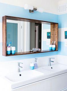 Arredo bagno specchio con cornice in legno