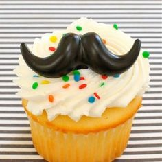 Mustache rings are perfect cupcake toppers because they double as a party favors too. Mustache Cupcakes, Mustache Party, Cake Shop, Cupcake Toppers, Party Favors, Sweets, Snacks, Baking, Desserts