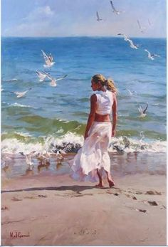 Mikhail and Inessa Garmash - Husband and Wife Team - Romantic Impressionists. For biographical notes -in english and italian- and other works by Garmashs' see: Michael and Inessa Garmash Woman Painting, Figure Painting, Painting & Drawing, Brown Eyed Girls, Beach Art, Strand, Female Art, Original Paintings, Canvas Art