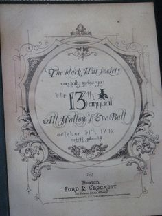 Invitation to the All Hallow's Eve Ball Black Hat Society Halloween vintage inspired. $10.00, via Etsy.
