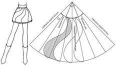 Pattern flared skirt. Выкройка расклешенной юбки.