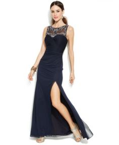 f068e1df661 Joanna Chen Embellished Illusion Side-Slit Gown Women - Dresses - Macy s