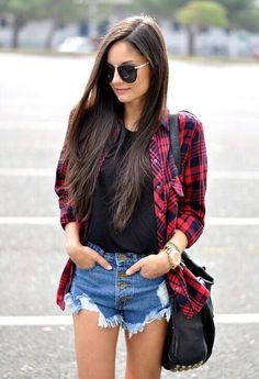 flannel & denim shorts.