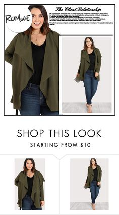 """""""Waterfall Collar Belted Wrap Coat"""" by aida-ida ❤ liked on Polyvore featuring plus size clothing"""