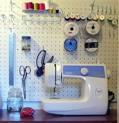 sewing nook with pegboard