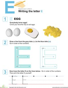 Preschool Letters Fine Motor Skills Worksheets: E is for Eggs! Practice Writing the Letter E Name Activities, Preschool Learning Activities, Preschool Worksheets, Teaching Ideas, April Preschool, Literacy Games, Preschool Education, Free Preschool, Alphabet Activities
