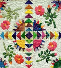 Scraps and Roses by Bev Lawrence  2012 Arizona quilt show, detail view.