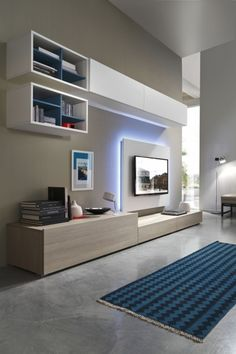 The storage cabinet TV background wall is also very practical now. The design that integrates the cabinet and the TV background is flexible, and different… Living Room Wall Units, Living Room Tv Unit Designs, Living Room Decor, Living Rooms, Tv Unit Decor, Tv Wall Decor, Wall Tv, Muebles Rack Tv, Tv Wall Cabinets