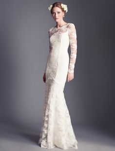 Temperley Bridal, Florence Collection, Florence Dress.  Love the florals in the hair. Lace, not so much.