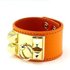 """Leather Spike Bracelet; 9"""" double snap button closure; Orange leather with gold hardware; Eileen's Collection. $45.99. Save 49%!"""