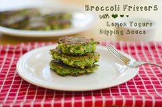 Broccoli Fritters With Lemon Yogurt Dipping Sauce