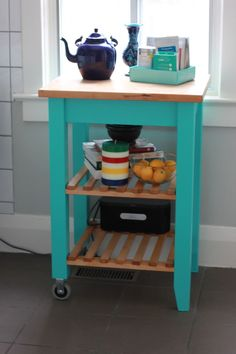 Ikea Bekvam Kitchen Cart stained and painted turquoise - Science of Married Kitchen Cabinets Uk, Ikea Kitchen Cart, Kitchen Trolley, Kitchen Furniture, Tv Cabinets, Bekvam Ikea, Furniture Makeover, Diy Furniture, Contemporary Kitchen Tables