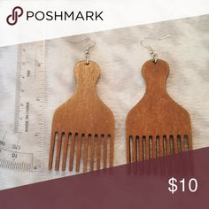 """BOGO Adorable """"Pick"""" Earrings Make a statement with these African American comb earrings. Very lightweight wooden earrings. Buy this item to get a free pair of wooden earrings! Jewelry Earrings"""