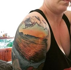 Wave Sunset Tattoo by Nerina Clare