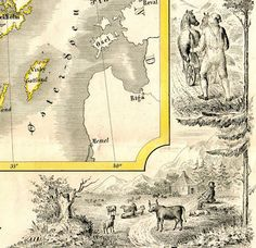 A map of Norway and Sweden,  Geographisk Börnelærdom, Christiania 1847  by Professor Peter Andreas Munch (1810-1863) - detail