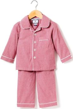 Red Mini Gingham Pajamas from Petite Plume Satin Pyjama Set, Satin Pajamas, Cotton Pyjamas, Pajama Set, Luxury Kids Clothes, Pajamas For Teens, Holiday Pajamas, Pajamas Winter, Kids Nightwear