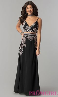 Long Mock Two-Piece Prom Dress with V-Neck and Choker Collar