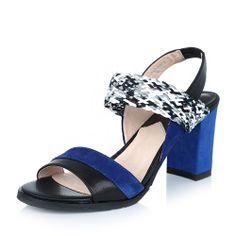 【拔佳Bata 14006BL4 蓝色】BATA/拔佳2014夏季蓝色羊绒/黑色羊皮女凉鞋14006BL4简约精致编织洋装