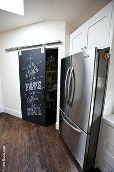 Chalkboard Pantry Door - Transitional - kitchen - Benjamin Moore White Cloud - 4 Men 1 Lady