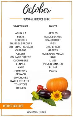 Seasonal Produce Guide What's in Season OCTOBER is a collection of the best fruits, veggies, and recipes for the month of September.  | natalieshealth.com #GettingFruity