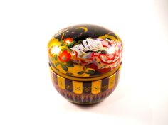 Chinese Tea Tin Colorful Asian Tea Container by MissPattisAttic
