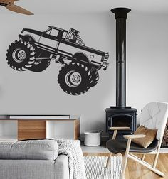 Monster Truck Wall Stickers Car Pickup for Garage SUV Sport Vinyl Decal (ig919)
