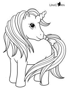Unicorn, : A Really Cute Girl Unicorn Coloring Page