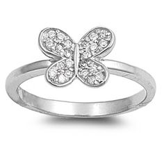 Solid 925 Sterling Silver Cute Petite Delicate Butterfly Ring With Rhinestone Clear Russian Diamond CZ Butterfly Ring Friendship Gift White Topaz, White Gold, Butterfly Ring, Friendship Gifts, Stone Rings, Fashion Rings, Jewels, Gemstones, Sterling Silver