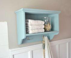 bath wall storage shelf with hooks - guest bath?