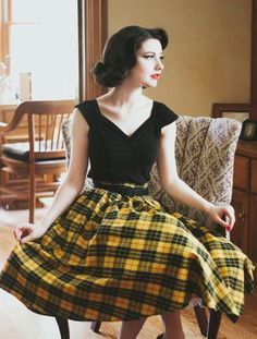 399522895d Classic plaid retro swing skirt in yellow and black. light cotton Not lined  Not stretchy Women s Vintage-Style Dresses   Accessories - Canada Merry    Bright ...