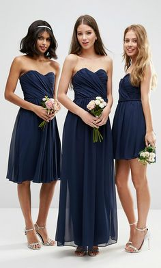 Navy Blue Bridesmaid Dresses Short Long And Midi Length Strapless For