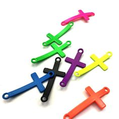 JEWELLERY MAKING SUPPLIES    Bulk 24 Pieces Coloured Alloy Connector Cross Charms    FREE DELIVERY