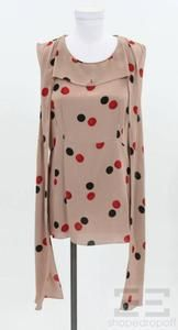 Marni Dusty Pink Red & Black Polka Dot Tie Neck Sleeveless Top