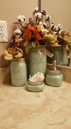 Mason Jar soap dispenser, bathroom set, housewarming, wedding gift, rustic decor, farmhouse decor, western decor, home decor,  Mint jars by sewtasticthings on Etsy