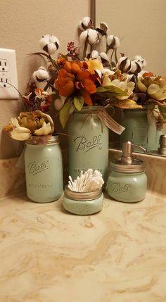Mason Jar soap dispenser, bathroom set, housewarming, wedding gift, rustic decor, farmhouse decor, western decor, home decor,  Mint jars by sewtasticthings on Etsy
