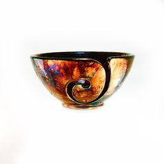 Peitha Pine Ceramic Yarn Bowl Raku Pottery YB13165 by CHpottery, $38.50