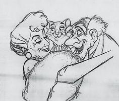 """Animation drawing, Disney's """"The Aristocats"""" by Milt Kahl"""