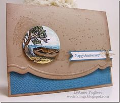 anniversary card by LeAnne Pugliese... love the colors on crumb cake CS... love how the image is also stamped behind color focal and lined up on top