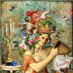 Digital art - Vanity.  Used ItKupilli kits Imaginarium and Spring Flowers from Deviant Scrap and take Flight by Manuela from StudioGirls